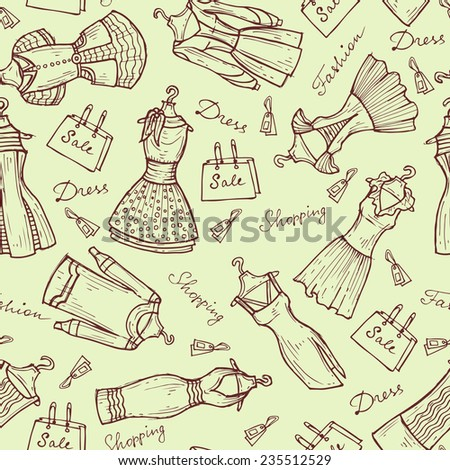 Vector seamless pattern with hand drawn and beautiful women's dresses on light background. Background for use in design, web site, packing, textile, fabric - stock vector