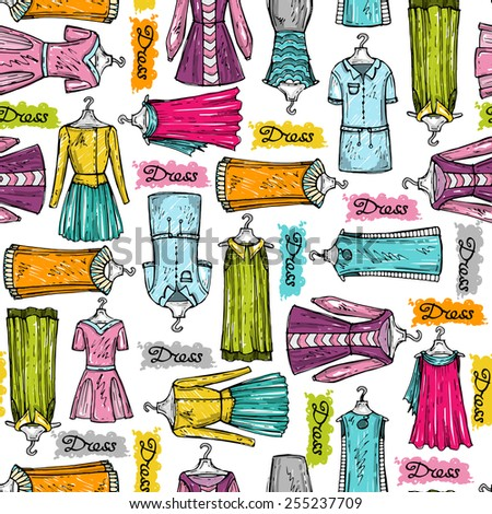 Vector seamless pattern with hand drawn and colorful dresses for women on white background. Background for use in design, web site, packing, textile, fabric - stock vector