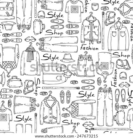 Vector seamless pattern with hand drawn and fashionable men's wear on white background. Background for use in design, web site, packing, textile, fabric - stock vector
