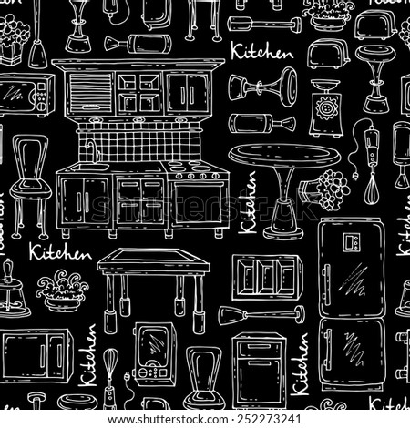 Vector seamless pattern with hand drawn and isolated kitchen furniture and household appliances on black color. Background for use in design, web site, packing, textile, fabric - stock vector