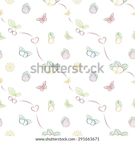 Vector seamless pattern with hand drawn berries. Unique and elegant background for jam labels, digital scrapbook, farm or clean eating website wallpapers, kitchen textile and wrapping paper - stock vector
