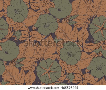 Vector seamless pattern with hand drawn bindweed flowers. Endless background in green and brown colors.