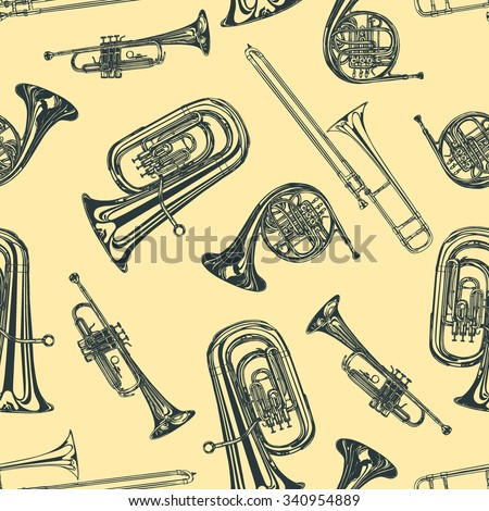Vector seamless pattern with hand drawn brass family instruments. Beautiful ink drawings of tuba, trumpet, trombone and french horn.  - stock vector