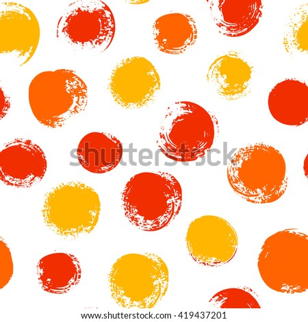Vector seamless pattern with hand drawn circle.  Abstract pattern in joyful color. Vector endless texture on isolated white background.
