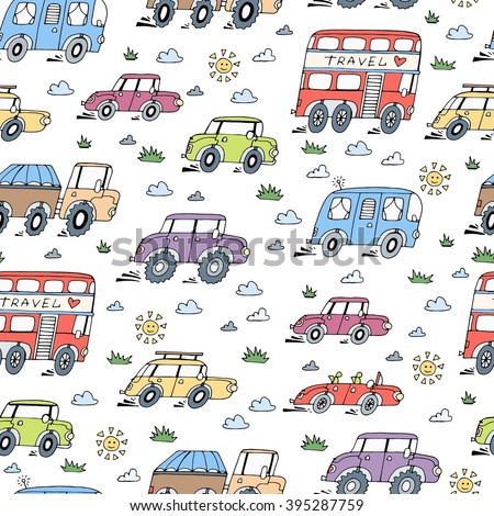 Vector seamless pattern with hand drawn, colored and cartoon cars. Pattern on the theme of transport. Background for use in design, packing, web site, fabric
