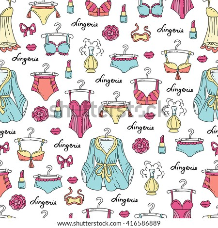 Vector seamless pattern with hand drawn colored lingerie for women.  Pattern on the theme of fashion.  Background for use in design, packing, web site, fabric