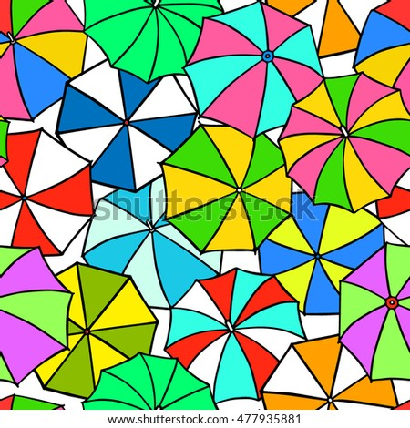 Vector seamless pattern with hand drawn colorful umbrella tops. Beautiful design elements, perfect for prints and patterns