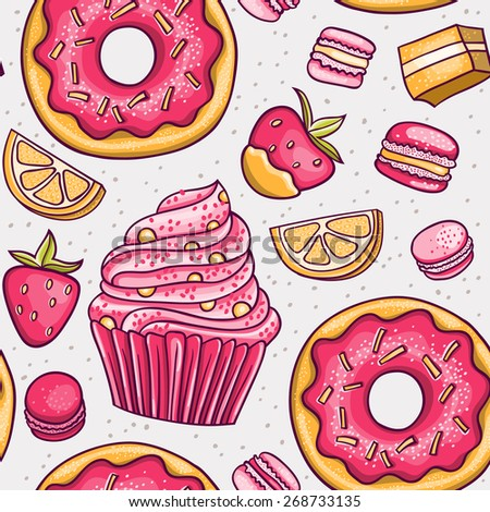Vector seamless pattern with hand drawn donuts, cupcake, macaroons marshmallow and fruits. Strawberry and orange flavors. Use for birthday invitations, menus, recipe cards, window displays, textiles. - stock vector
