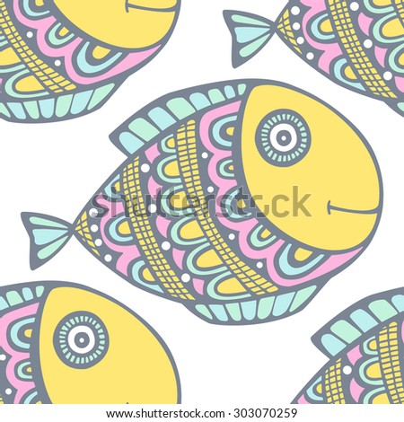 Vector seamless pattern with hand drawn doodle fish. Yellow, pink, green, white colors. - stock vector