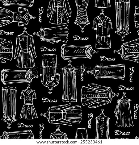 Vector seamless pattern with hand drawn dresses for women on black background. Background for use in design, web site, packing, textile, fabric - stock vector