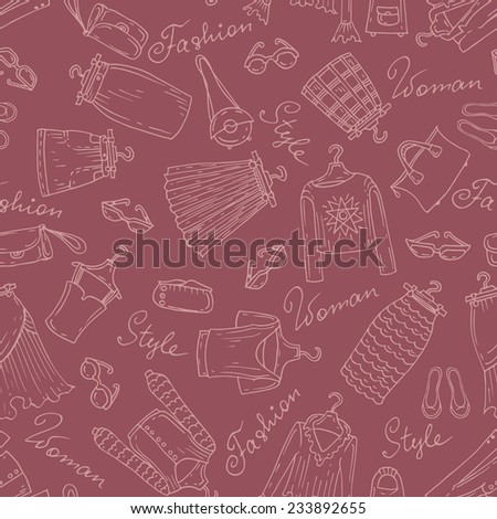 Vector seamless pattern with hand drawn, fashionable skirts and blouses on brown background. Background for use in design, web site, packing, textile, fabric