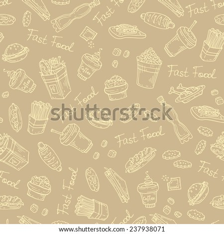 Vector seamless pattern with hand drawn fast food on brown background. Background for use in design, web site, packing, textile, fabric