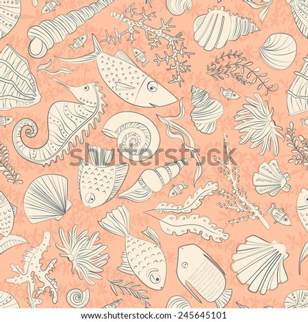 Vector seamless pattern with hand drawn fishes, corrals, shells, seaweeds, sea-horse and other underwater creatures. Ocean background. Tropical sea life design. - stock vector