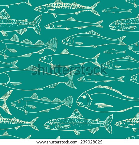 Vector seamless pattern with hand drawn fishes. Deep marine background color. Cool design elements. - stock vector