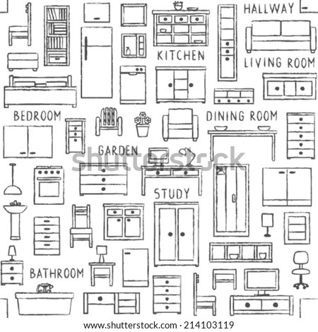 Vector seamless pattern with hand drawn furniture - stock vector