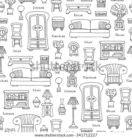 pattern furniture. Vector Seamless Pattern With Hand Drawn Furniture And Decoration On White Color. The U