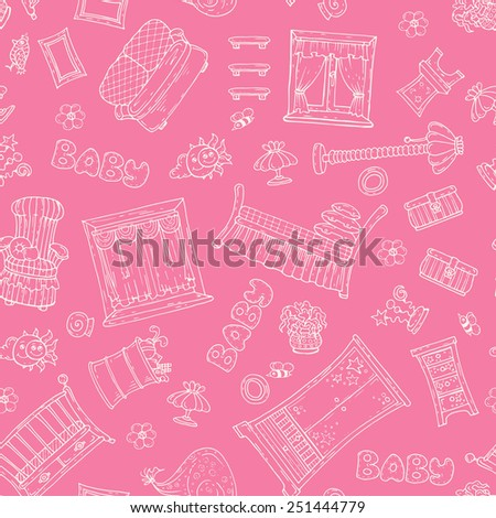 Vector seamless pattern with hand drawn furniture for girl's room on pink background. Background for use in design, web site, packing, textile, fabric - stock vector