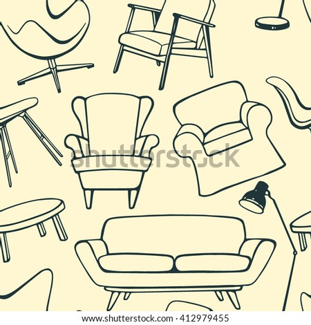 Vector seamless pattern with hand drawn furniture items. Beautiful interior design elements, perfect for prints and patterns. - stock vector