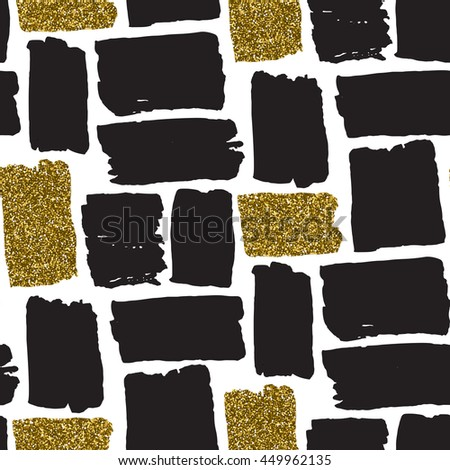 Vector seamless pattern with hand drawn gold glitter textured brush strokes. Black, gold, white colors. - stock vector