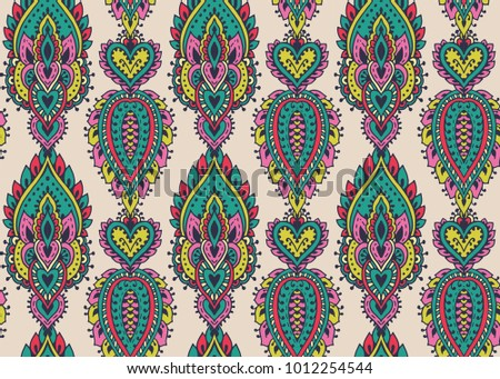 Henna Mehndi Vector : Vector seamless pattern hand drawn henna stock 1012254544