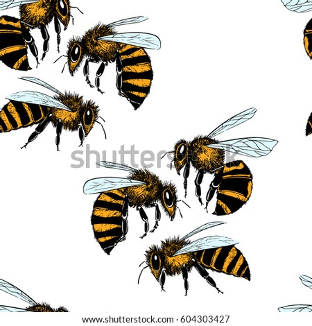 Vector Seamless Pattern With Hand Drawn Honey Bees Made In Retro Style Beautiful Ink Drawing