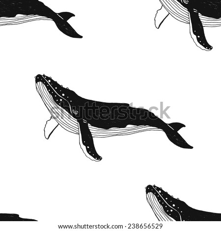 Vector seamless pattern with hand drawn illustration whale. Black contour illustration isolated on white background. - stock vector