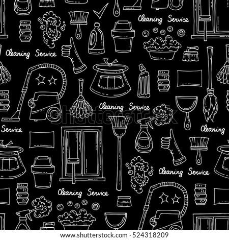 Vector seamless pattern with hand drawn isolated symbols of cleaning service on black color. Pattern on the theme of cleanliness. Background for use in design, packing, fabric