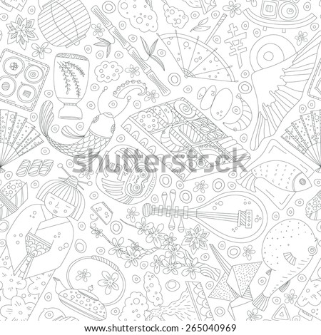 Vector seamless pattern with hand drawn japanese symbols, including geisha, sakura, bonsai, lantern. Cute unique doodle background for digital scrapbooking, wallpapers and fabric, travel website.  - stock vector