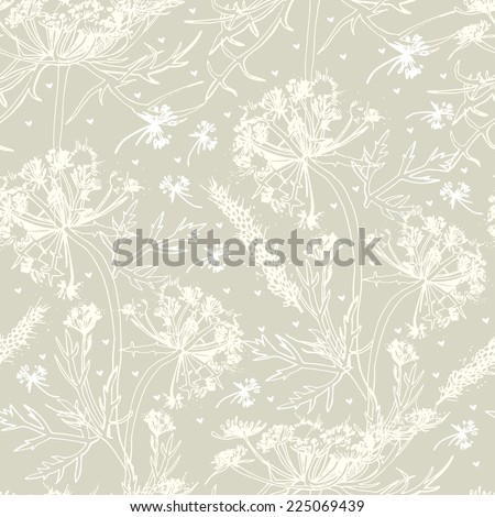 Vector seamless pattern with hand drawn medical herbs. The template can be used for packaging, printing on cups, bags, wallpaper, textiles. - stock vector