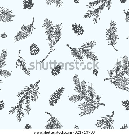 Vector seamless pattern with hand drawn pine branches and cones. Beautiful Christmas or winter design elements. - stock vector