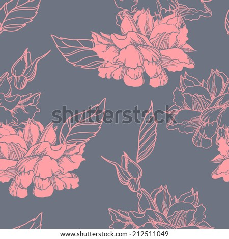 Vector seamless pattern with hand drawn rose flowers. - stock vector