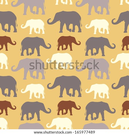 Vector seamless pattern with hand drawn silhouette elephants