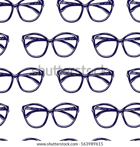 Vector Seamless Pattern Hand Drawn Sunglasses Stock Vector ...