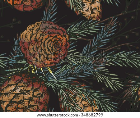 Vector seamless pattern with hand drawn winter plants - fir branches, fir-cone; pine cone.Christmas and New Year sketch background. Can be used for  textile, paper, scrapbook - stock vector