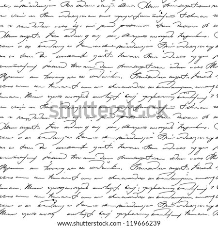 Vector seamless pattern with handwriting text in vintage style. Text unreadable.