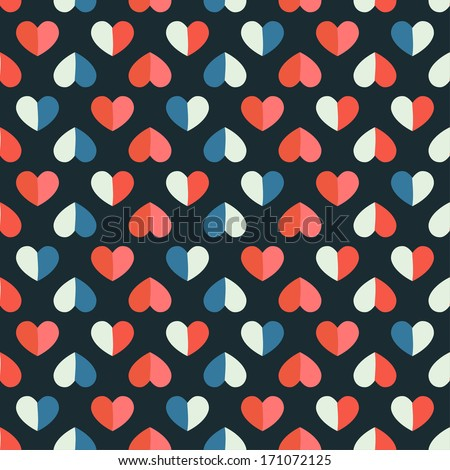 Vector seamless pattern with heart in retro style. - stock vector