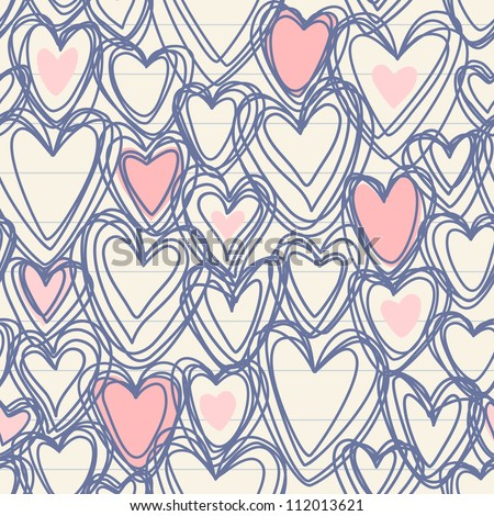 Vector seamless pattern with hearts of doodles on a sheet of notebook. Romantic simple background Valentines Day's and wedding in hand drawn style. Abstract ornamental cute illustration for print, web - stock vector