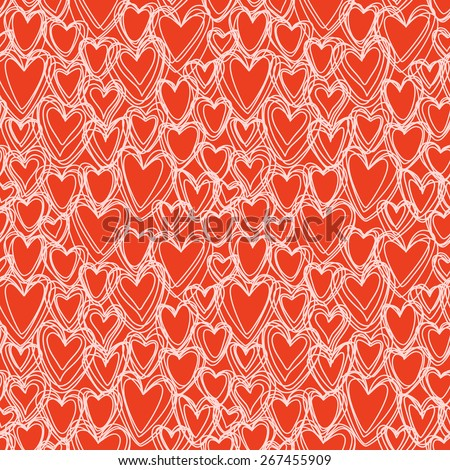 Vector seamless pattern with hearts of doodles. Valentines Day's, wedding texture in hand drawn style. Ornamental illustration for print, web - stock vector