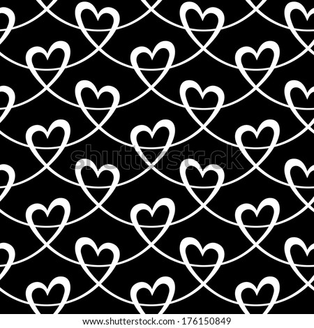 Vector seamless pattern with hearts of wavy lines. Decorative background Valentine's Day, wedding. Ornamental illustration for print, web - stock vector