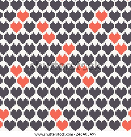 Vector seamless pattern with hearts. Pixel art. Vector repeating texture. Holiday geometric background - stock vector