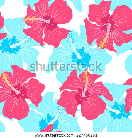 Vector seamless pattern with hibiscus  - stock vector