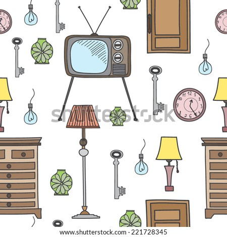 Vector seamless pattern with home objects - stock vector
