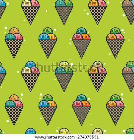 Vector seamless pattern with ice-cream - stock vector