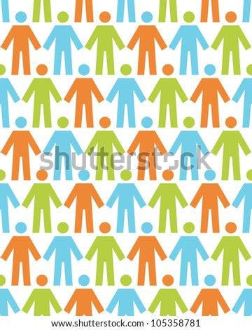 Vector seamless pattern with icons of people. White background with color silhouettes of persons. Abstract illustration with concept of team