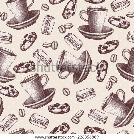 Vector seamless pattern with ink hand drawn coffee and dessert illustrations. Vintage coffee   sketch background. - stock vector