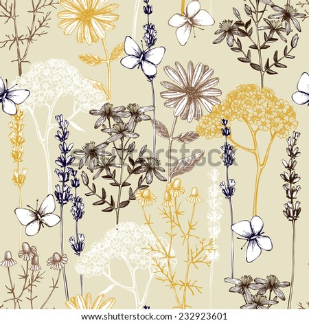 Vector seamless pattern with ink hand drawn herbs illustration in retro color. Vintage background with herbs flowers and butterflies sketch - stock vector