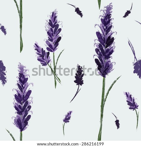 Vector seamless pattern with ink hand drawn lavender illustration. Vintage vector background Watercolor vector pattern with Lavender. Floral pattern - stock vector