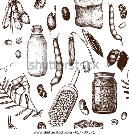 Vector seamless pattern with ink hand drawn legume crops sketches. Vintage background legumes and legume products. Farm fresh and organic food illustration - stock vector