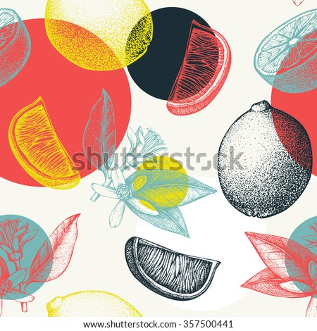 Vector seamless pattern with ink hand drawn lime  fruit, flowers, slice and leaves sketch. Abstract citrus background with circle elements - stock vector