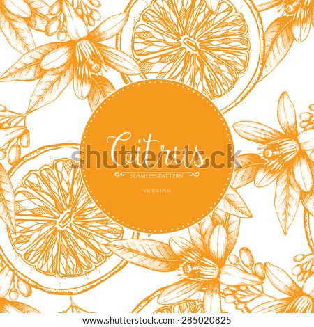 Vector seamless pattern with ink hand drawn orange fruit, flowers and leaves sketch. Vintage citrus background isolated on white - stock vector